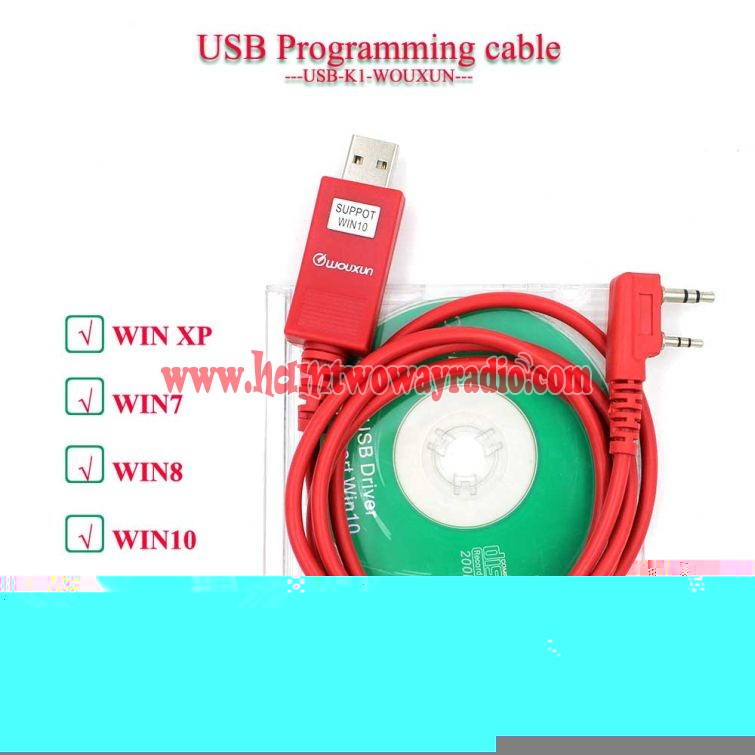 Wouxun KG-UVD1P KG-UV6D KG-UV899 KG-UV9D Plus Support Win10 Programming  Cable With Software CD